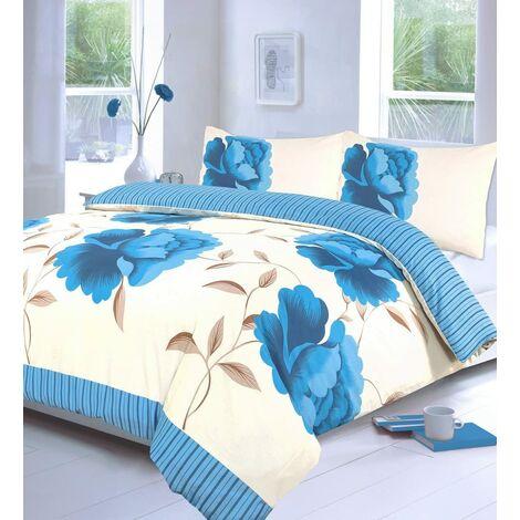 Rosaleen Floral Bedding Teal Super King Size Duvet Cover Set