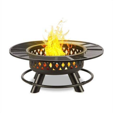 Rosario Brasero 3 en 1 Ø120cm barbecue 70 cm | plateau de table acier