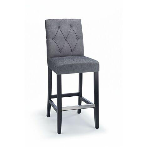 Rosco Black Wooden Bar Stool - Grey
