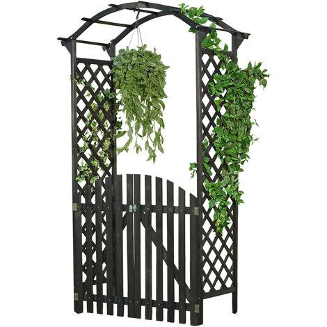 rose arch climbing help arched gateway trellis wood trellis garden black door gate