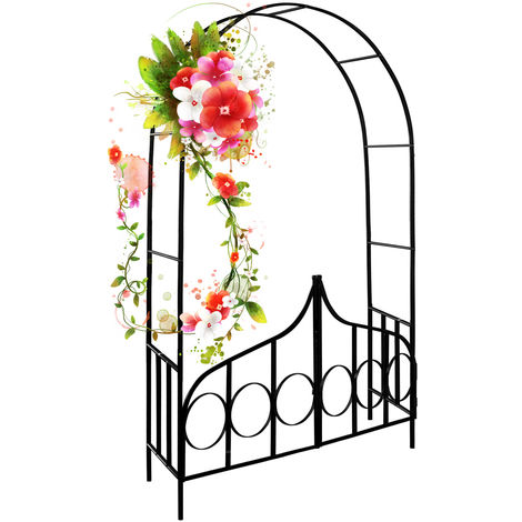 Rose Arch With Gate Large Metal Trellis Garden Archway For Climbing Plants 240 x 140 cm