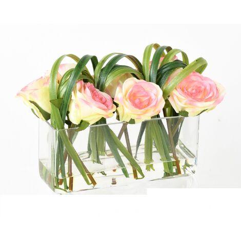 ROSE Artificielle EN COMPO 40 (21 cm) Haut de Gamme ROSE Bouquets artificiels - ROSE