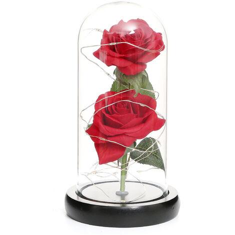 Rose Artificielle En Dome De Verre Avec Boite-Cadeau Avec Lumieres Led Forever Artificielle Forever Rose Fleur Cadeau