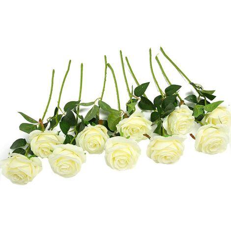 Rose Artificielle Fleurs De Soie Bouquet Home Office Arrangements De Mariage Blanc (10 PCS)