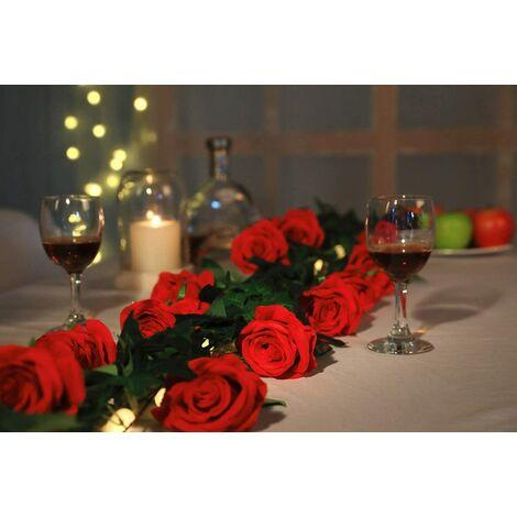 Rose Artificielle Fleurs De Soie Bouquet Home Office Arrangements De Mariage Rouge (10 PCS)