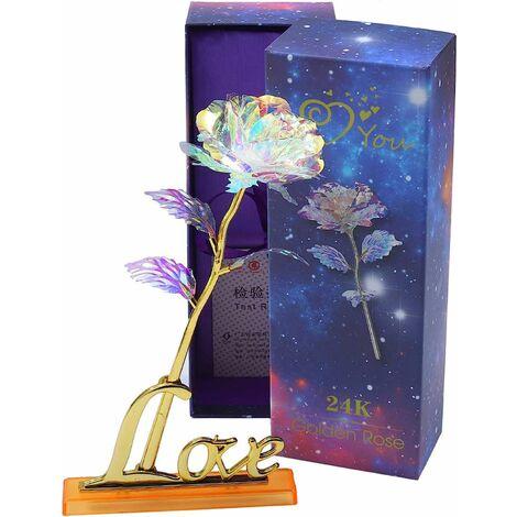 Rose Artificielle Galaxy Roses Fleurs pour la Saint Valentin Fête des Mères Thanksgiving Anniversaire Anniversaire Cadeaux de Mariage Fournitures Centres de Table Décoration de Fête (Coloré)