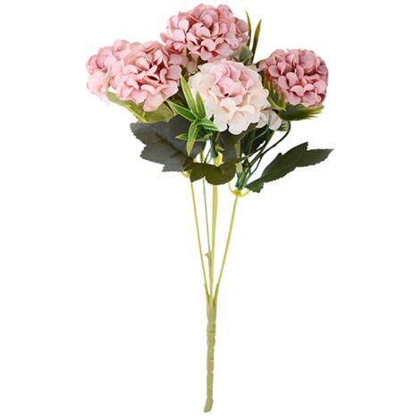 Rose carat boule chrysanthème simulation bouquet fausse fleur soie décoration florale salon décoration salle d'étude table à manger meuble(Non compris la bouteille)