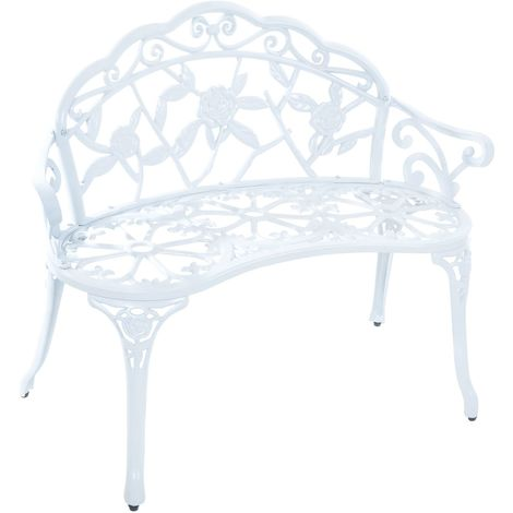 Rose Cast Aluminium Bench - White