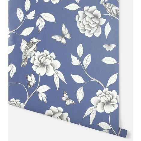 Rose Garden Navy Wallpaper - Arthouse - 907600