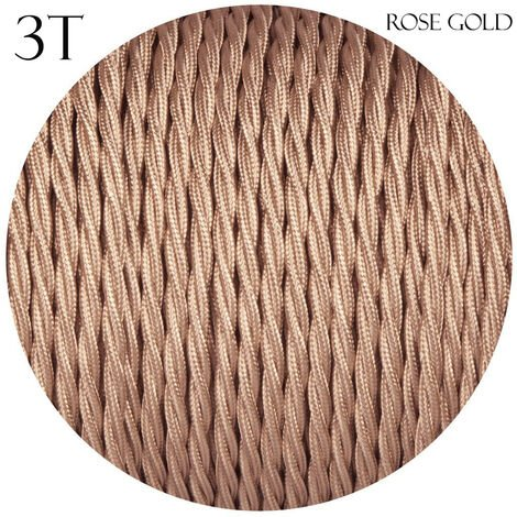 Rose Gold 3 Core Twisted Electric Cable covered color fabric 0.75mm