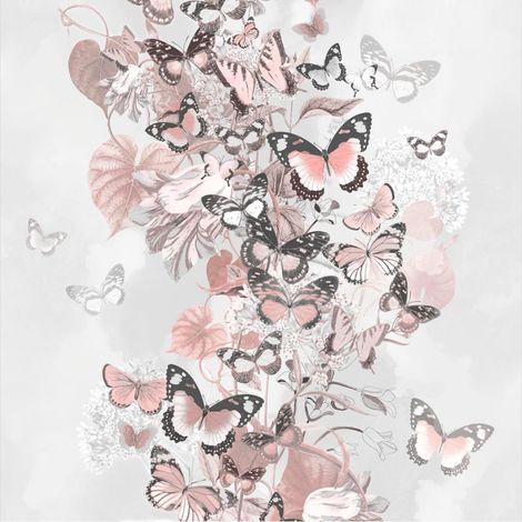 Rose Gold Grey Floral Butterfly Wallpaper Glitter Botanical Muriva Summertime