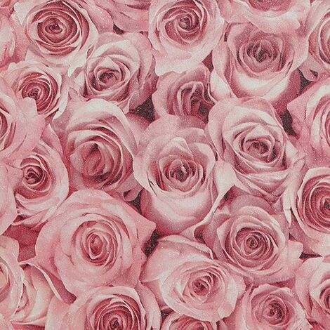 Rose Wall Raspberry Wallpaper Arthouse Textured Vinyl Glitter Floral Pink