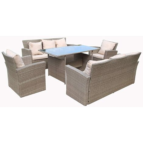 Rosen 8 Seater Black Rattan Garden Dining Table with Fitting Cover