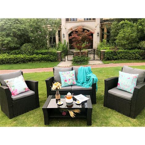 "main image of ""Rosen Conservatory 4 Piece Rattan Black Sofa Garden Furniture Patio Set Table Chairs"""