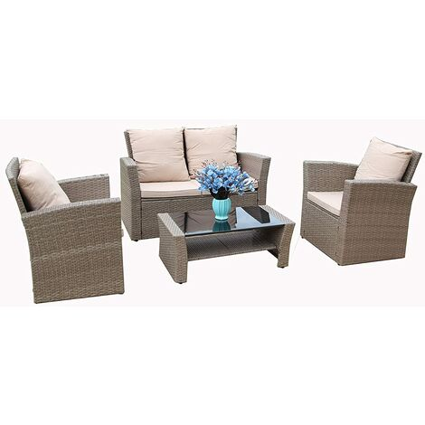 Rosen Conservatory 4-Piece Set Rattan Sofa Garden Furniture Patio Set Table Chairs with Fitting Cover