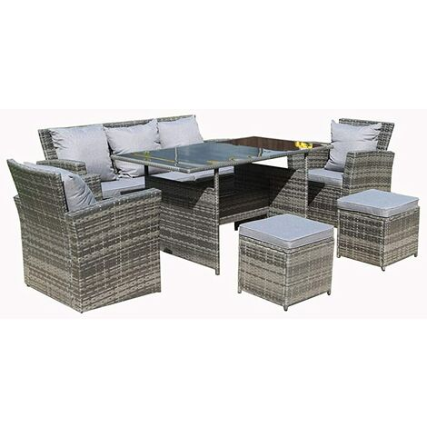Rosen Conservatory Range Rattan Garden Furniture Set 7 Seater Dining Set with Fitting Cover