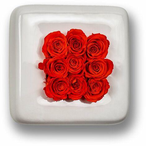 Rosen in Keramik Infinity-Bloom Chest - weiß/rot - 16x16 cm