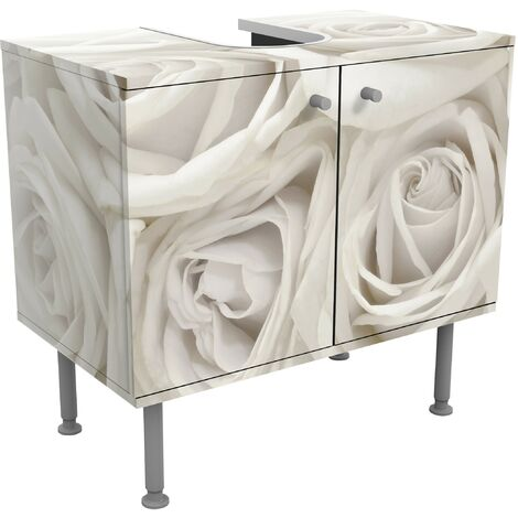 Rosen Waschbeckenunterschrank Weisse Rosen Blumen Badschrank