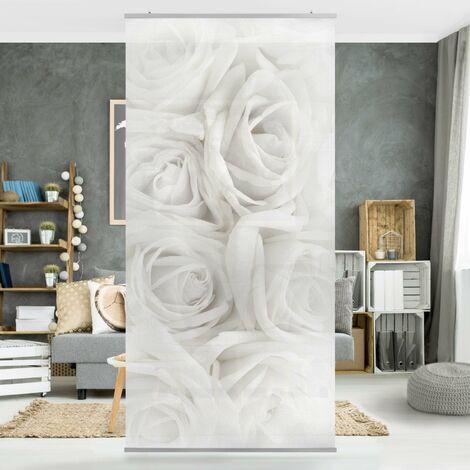 Rosenbild Raumteiler - Weiße Rosen 250x120cm Aufhängung: inkl. transparenter Halterung