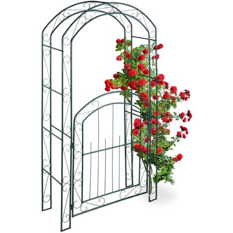 Rosenbogen mit Tür, Garten Rankhilfe Kletterpflanzen, Torbogen Metall, wetterfest, HBT 215 x 115 x 43 cm, grün