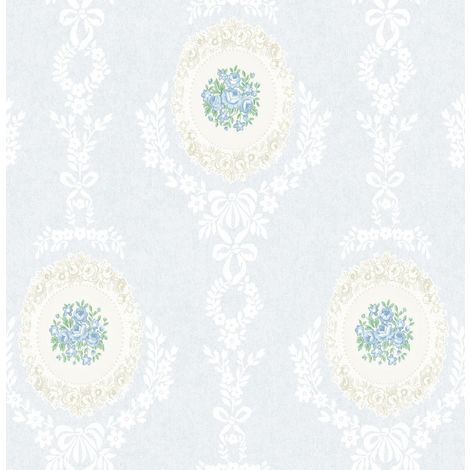 Roses Floral Wallpaper Trellis Flowers Bows Ornamental Blue Mica Shimmer