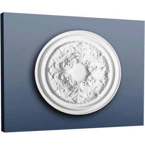 Rosetón Florón Elemento decorativo de estuco Orac Decor R52 LUXXUS para techo o pared blanco 69,50 cm diámetro
