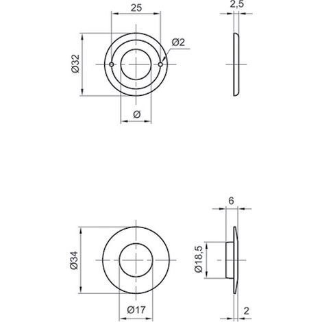 Rosette emboutie type GDF COUILLET Ø16 x 32 x 2.5 mm - ROS1