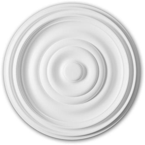 Rosette PROFHOME 156035 Zierelement Deckenelement Zeitloses Klassisches Design weiß Ø 48,5 cm