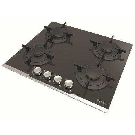 Rosieres Table De Cuisson Gaz 59cm 4 Bruleurs Verre Trempé Grilles En Fonte