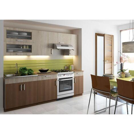 ROSSA S - Cuisine Complète Modulaire + Linéaire L 240 cm 7 pcs - Plan de travail INCLUS - Ensemble armoires meubles cuisine - Sonoma