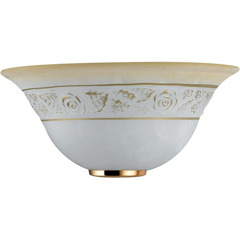 Rosy aps applique vetro bianco sfumata ambra greca floreale