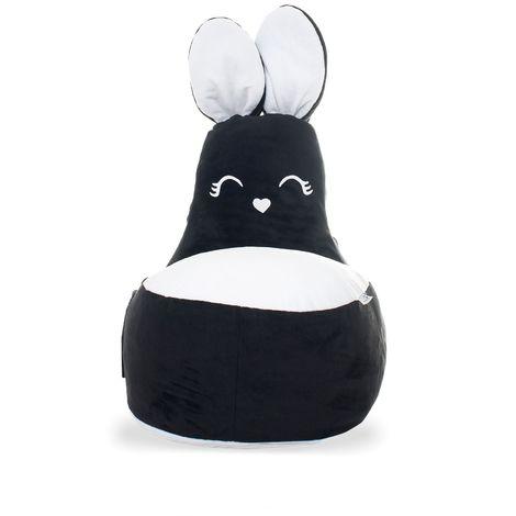 ROSY Mini   Pouf Fauteuil enfant motif lapin avec oreilles + queue   85x70x45 cm   Déco chambre enfant   Déhoussable + lavable   Noir