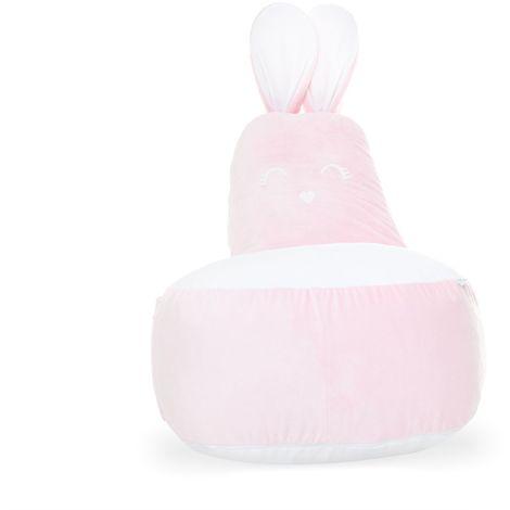 ROSY   Pouf Fauteuil enfant motif lapin avec oreilles + queue   120x90x70 cm   Déco chambre enfant   Déhoussable + lavable   Rose