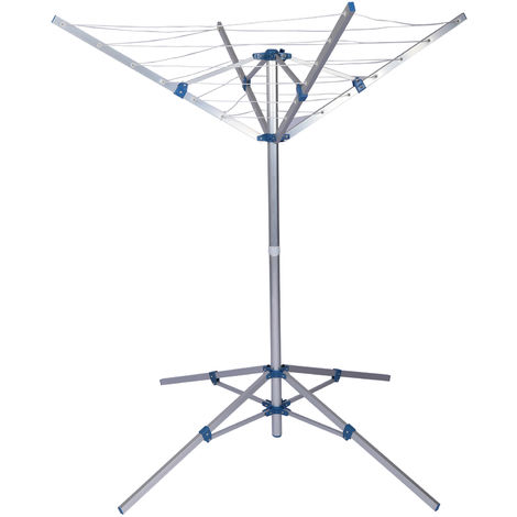 Rotary Clothes Airer Dryer Stand Washing Line Drying Rack mobile Camping aluminum16m