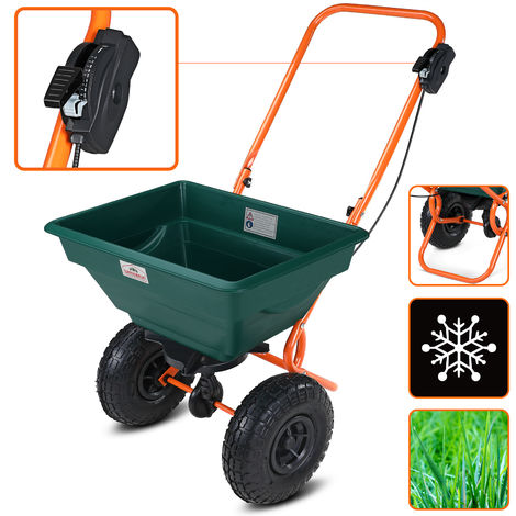 Rotary Spreader 55 lbs Pneumatic Tyres For Road Salt Grit Sand Winter Service Snow Clearance Adjustable Spread Rate