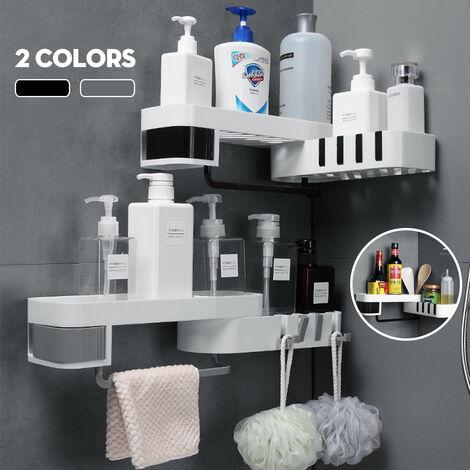 Rotating Bathroom Kitchen Shelf, Shower Corner Bracket, New Storage Rack Organizer (Gray White)