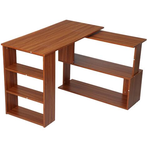 Rotating Corner Desk L-Shaped Storage Shelf Workstation Home Office