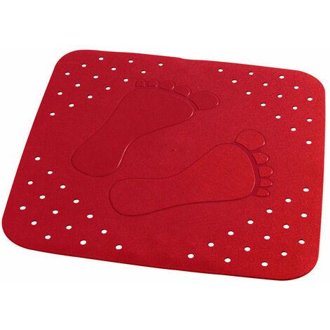Rote Duscheinlage Anti Rutsch Matte Duschmatte Sicherheitseinlage für die Duschwanne - RIDDER - Modell PLATTFUSS - 54x54cm
