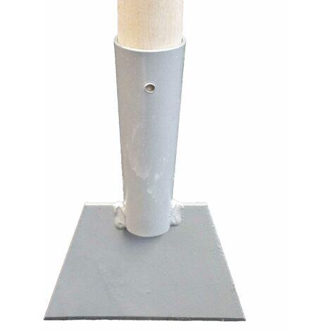 Roter Eisstößer Eisscharre Stößer aus Spezialstahl 150 x 120mm mit Holzstiel
