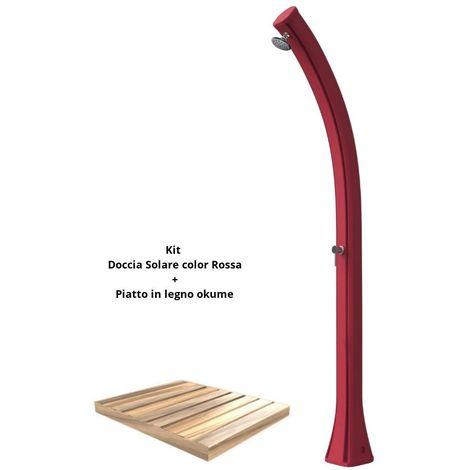 Rotes Duschset mit okuméHolzablage cm 19x17x215 SINED ARKEMA-DPO-ROSSA