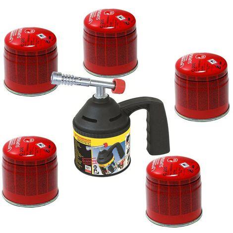 Rothenberger Lampe à souder avec 5 cartouches de gaz C200