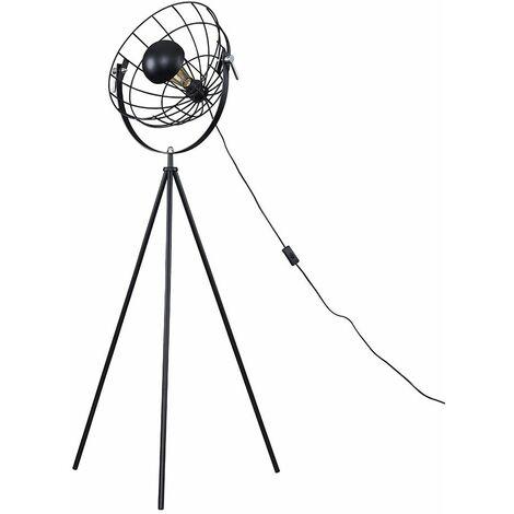 Rothman Tripod Floor Lamp In Matt Black With Wire Shade - Add LED Bulb