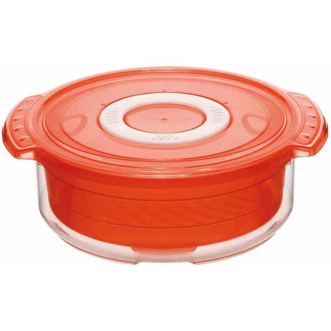 Rotho Mikrowellen-Steamer rund 1,4l 1737402792 Papaya rot