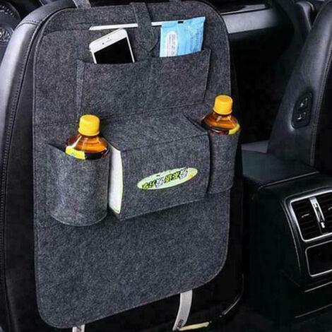 Rotin, organisateur de siège de voiture beige clair en cuir, organisateur de siège de voiture, protection de dossier de voiture enfants, voiture protège-siège dossier enfants, protection contre les marches avec organisateur de siège arrière (gris)