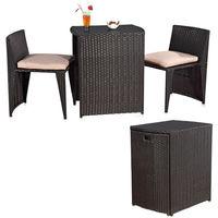 Rotin salon en trois parties, meubles de jardin, table noire avec 2 chaises