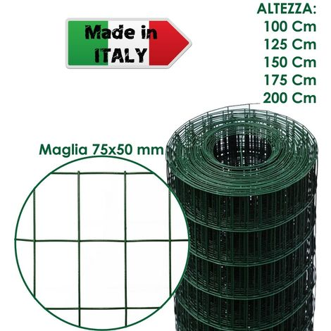 ROTOLO 25 m RETE METALLICA ZINCATA PLASTIFICATA ELETTROSALDATA PER RECINZIONE - H 175 cm