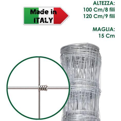 ROTOLO 50 m RETE PASTORALE METALLICA ANNODATA ZINCATA A MAGLIE DIFFERENZIATE - H 120 cm/9 fili