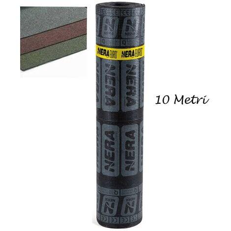 Rotolo Guaina Ardesiata Verde 10 mt Bituminosa 4kg/m2 Impermeabilizzante Tetti