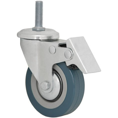 Roue 75mm pivotante 360° avec frein | montage avec Tige Filetée M10 | Roulette en nylon de eyepower pour bricolage | argenté