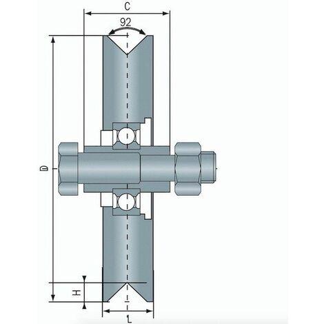 Roue à gorge en V diamètre 80 x 25 pour rail en V - 200 Kg